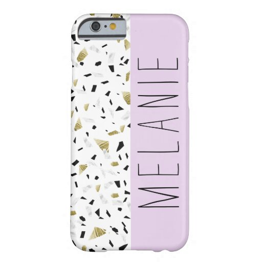 Modern Lavender Gold Marble Terrazzo Pattern Barely There iPhone 6 Case