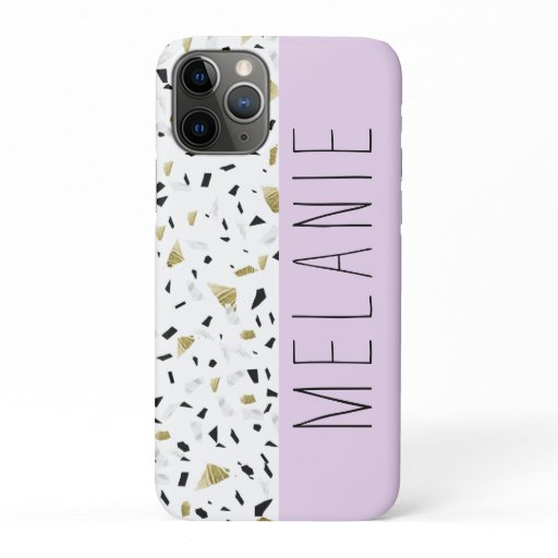 Modern Lavender Gold Marble Terrazzo Pattern iPhone 11 Pro Case
