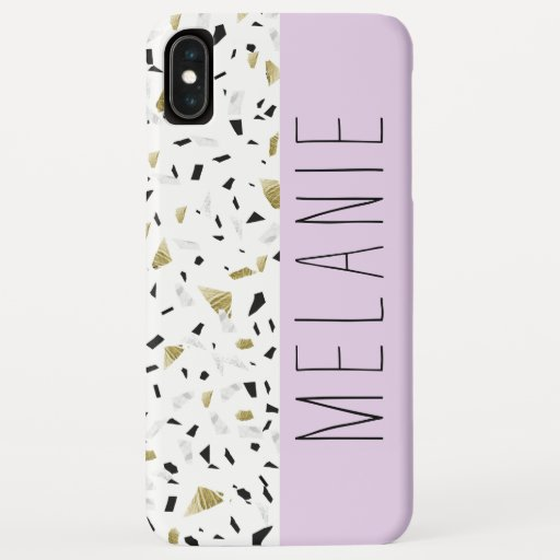 Modern Lavender Gold Marble Terrazzo Pattern iPhone XS Max Case