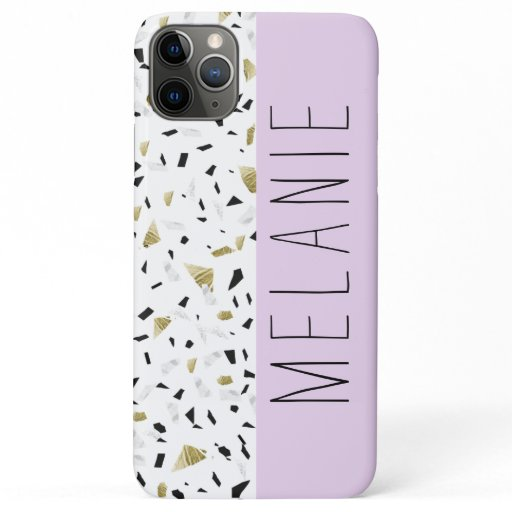 Modern Lavender Gold Marble Terrazzo Pattern iPhone 11 Pro Max Case