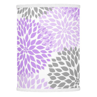 Modern Lavender Gray Dahlia Floral decor purple Lamp Shade
