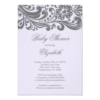 Modern Lavender Gray Floral Swirl Baby Shower Card
