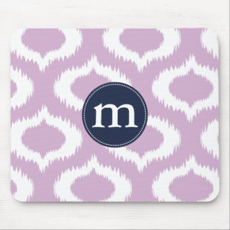 Modern Lavender Ikat Diamonds Personalized Mouse Pad