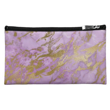 Aztec Themed Modern Lavender Marble and Gold Cosmetic Bag
