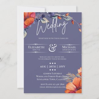 Modern Lavender Orange Floral Wedding Invite