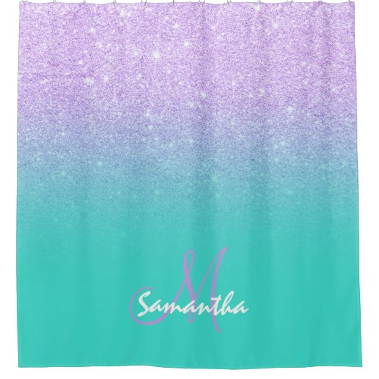 purple and turquoise shower curtain. Modern Lavender Purple Glitter Turquoise Monogram Shower Curtain
