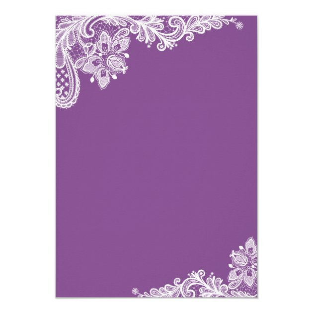 Modern Lavender Purple Lace Retirement Party Card (back side)