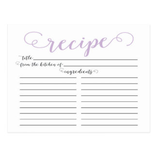 Modern Lavender Script Bridal Shower Recipe Cards