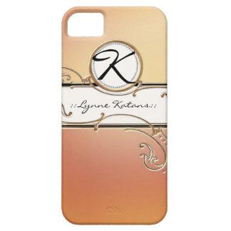 Modern Lavish Elegant Orange Pink Jewel Monogram iPhone 5 Cases