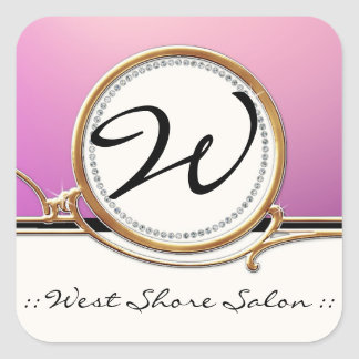 Modern Lavish Elegant Upscale Jewel Look Salon Spa Square Stickers