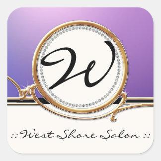 Modern Lavish Elegant Upscale Jewel Look Salon Spa Square Sticker