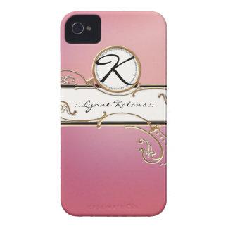 Modern Lavish Elegant Upscale Jewel Pink Monogram iPhone 4 Cover