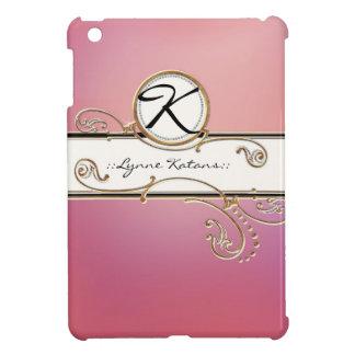 Modern Lavish Elegant Upscale Jewel Pink Monogram iPad Mini Cases