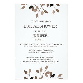 Modern leaf bridal shower invitations