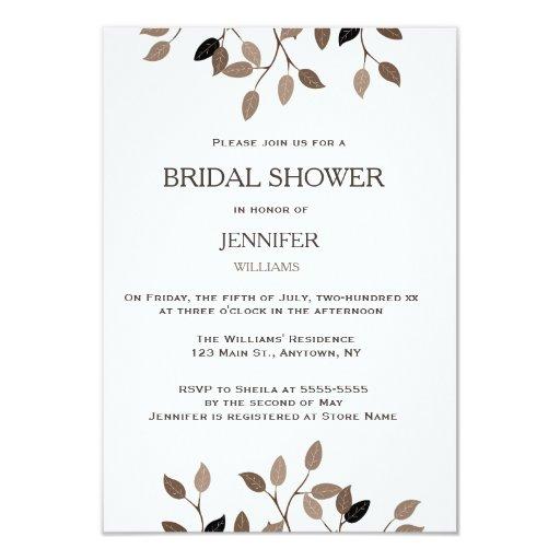 Modern leaf bridal shower invitations zazzle for Modern bridal shower invitations
