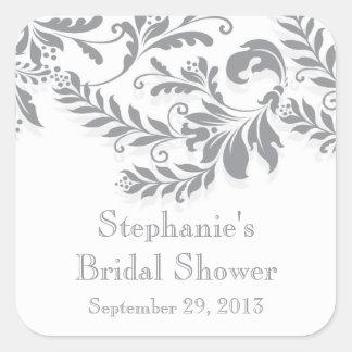 Modern Leaf Damask Bridal Shower Postage Stamp Square Sticker
