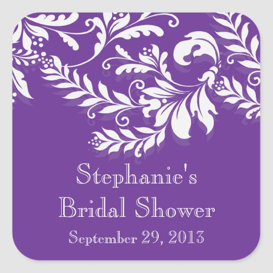 modern leaf damask bridal shower postage stamp square sticker