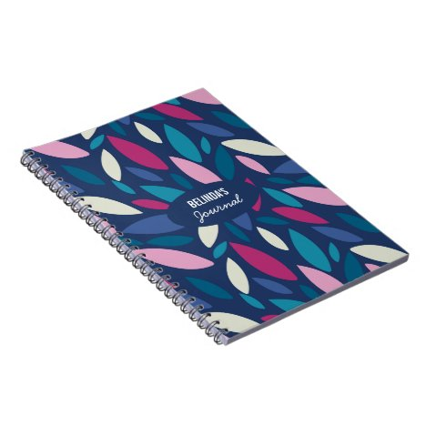 Modern leaf design in blue and pink notebook