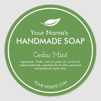 Modern Leaf Personalized Soap Labels Round Color