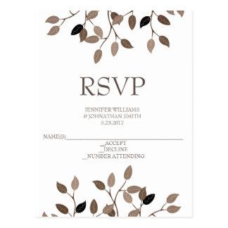 Modern leaf wedding RSVP cards