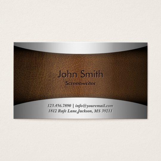 Modern Leather Screenwriter Business Card