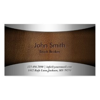 Modern Leather Stock Broker Business Card