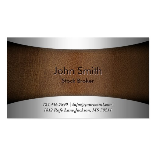 Modern Leather Stock Broker Business Card