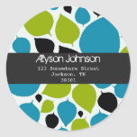 Modern Leaves Background Address Labels Classic Round Sticker