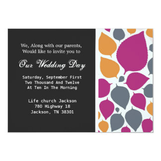 Modern Leaves Background Wedding Invites