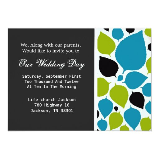 "Modern Leaves Background Wedding Invites 5"" X 7"" Invitation Card"