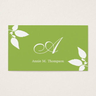 Modern Leaves Business Cards - Green/White