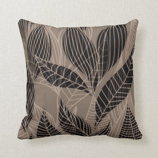 Modern Leaf Throw Pillow : Modern Leaves by Cheryl Daniels taupe Throw Pillow Zazzle