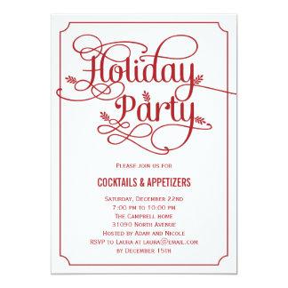 Modern Leaves Holiday Party Invitation Custom Invites