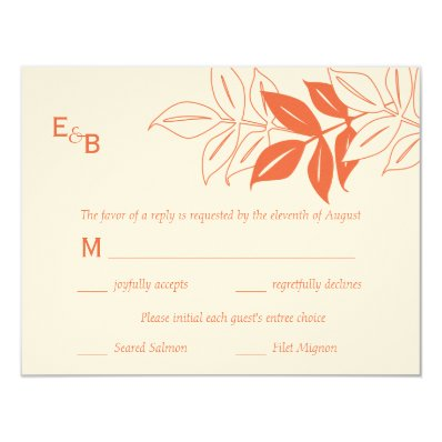 Modern Leaves RSVP Card - Mandarin Orange