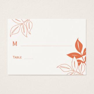 Modern Leaves Wedding Place Card - Mandarin Orange