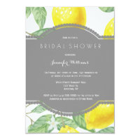 Modern lemon bridal shower invitations