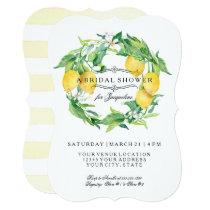 Modern Lemon Floral Citrus Bracket Bridal Shower Card