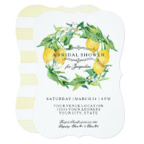 Modern Lemon Floral Citrus Bracket Bridal Shower Invitation