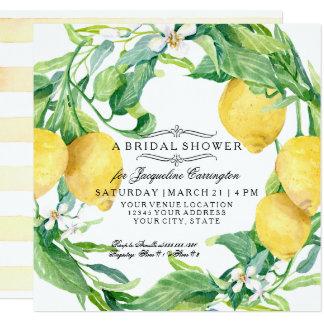 Modern Lemon Floral Flower Wreath Bridal Shower Card