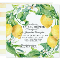 Modern Lemon Floral Flower Wreath Bridal Shower Invitation