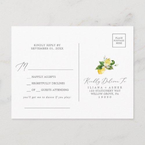 Modern Lemon Garden Song RSVP Postcard