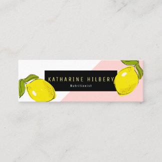 Modern Lemon Pink White Block Mini Business Card