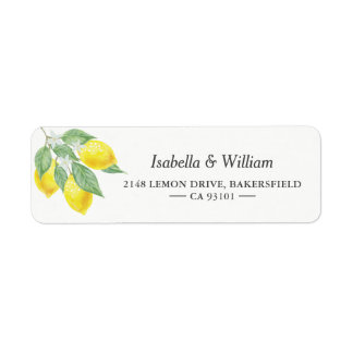 Modern Lemon Summer Wedding Address Label