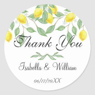 Modern Lemon Summer Wedding Thank You Classic Round Sticker