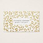 Modern leopard pattern luxury faux gold glitter business card