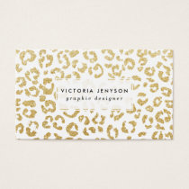 Modern leopard pattern luxury faux gold glitter business card