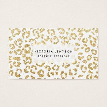 girly_trend Modern leopard pattern luxury faux gold glitter business card