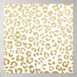 Modern leopard pattern luxury faux gold glitter poster