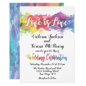Modern Lesbian Gay Watercolor Wedding Card