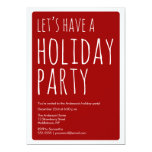 Modern Let's Have A Holiday Party Invite - Red